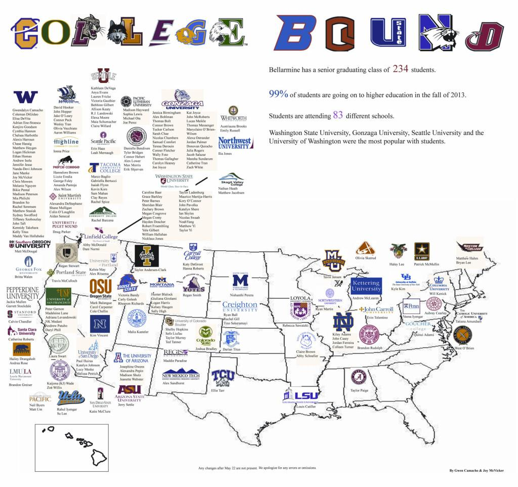 The Places They Will Go Class Of 2013 College Map The Bellarmine