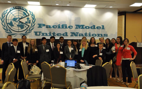 The Bellarmine Model UN Club poses at the conference they put on with other Washington high schools, PACMUN. Photo courtesy of Vivek Ramachandran