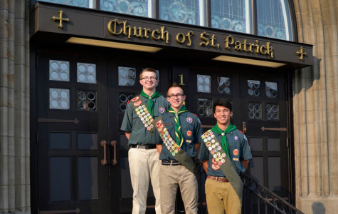 Eagle Scouts Jesse, Maher and Lane stand proudly on the steps of St. Pat's. Photo courtesy of Walt Burdsall Scoutmaster, Troop 299 Saint Patrick's Church and Anna Jesse