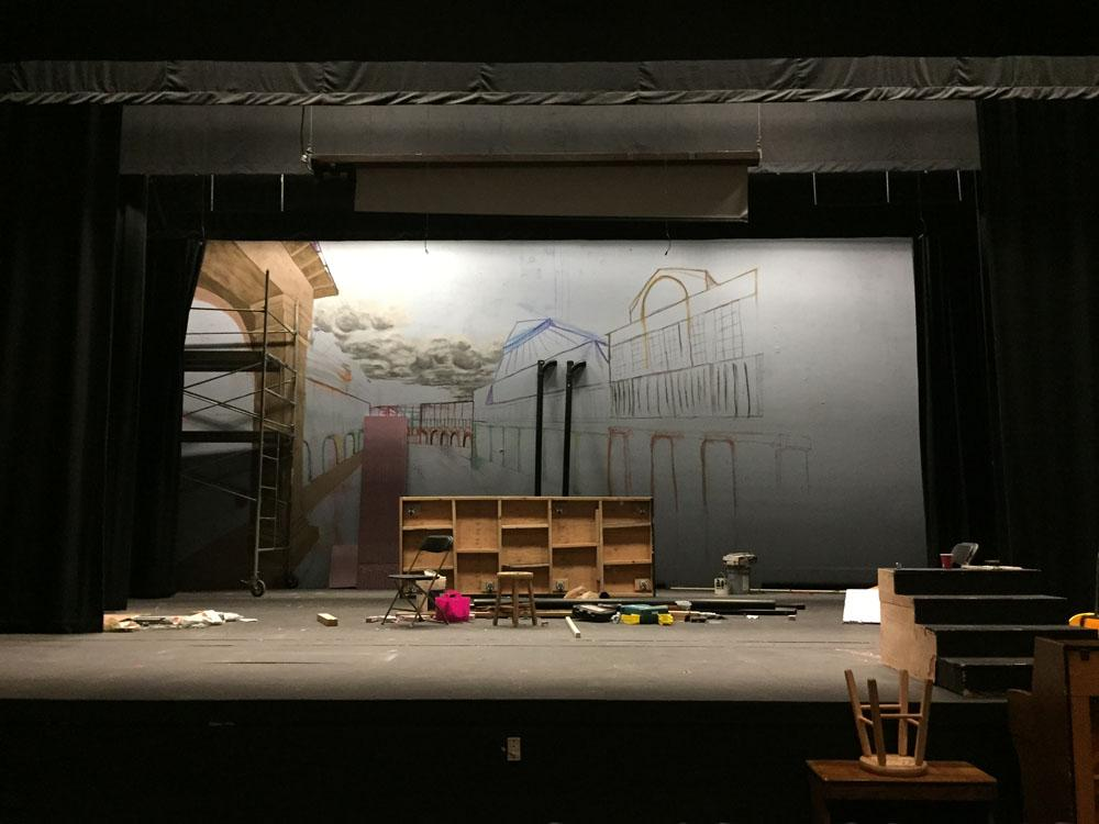 "The empty stage awaits ""My Fair Lady."" Photo by Samantha Bradley"