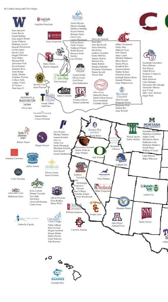Class Of 2016 College Map The Bellarmine Prep Lion