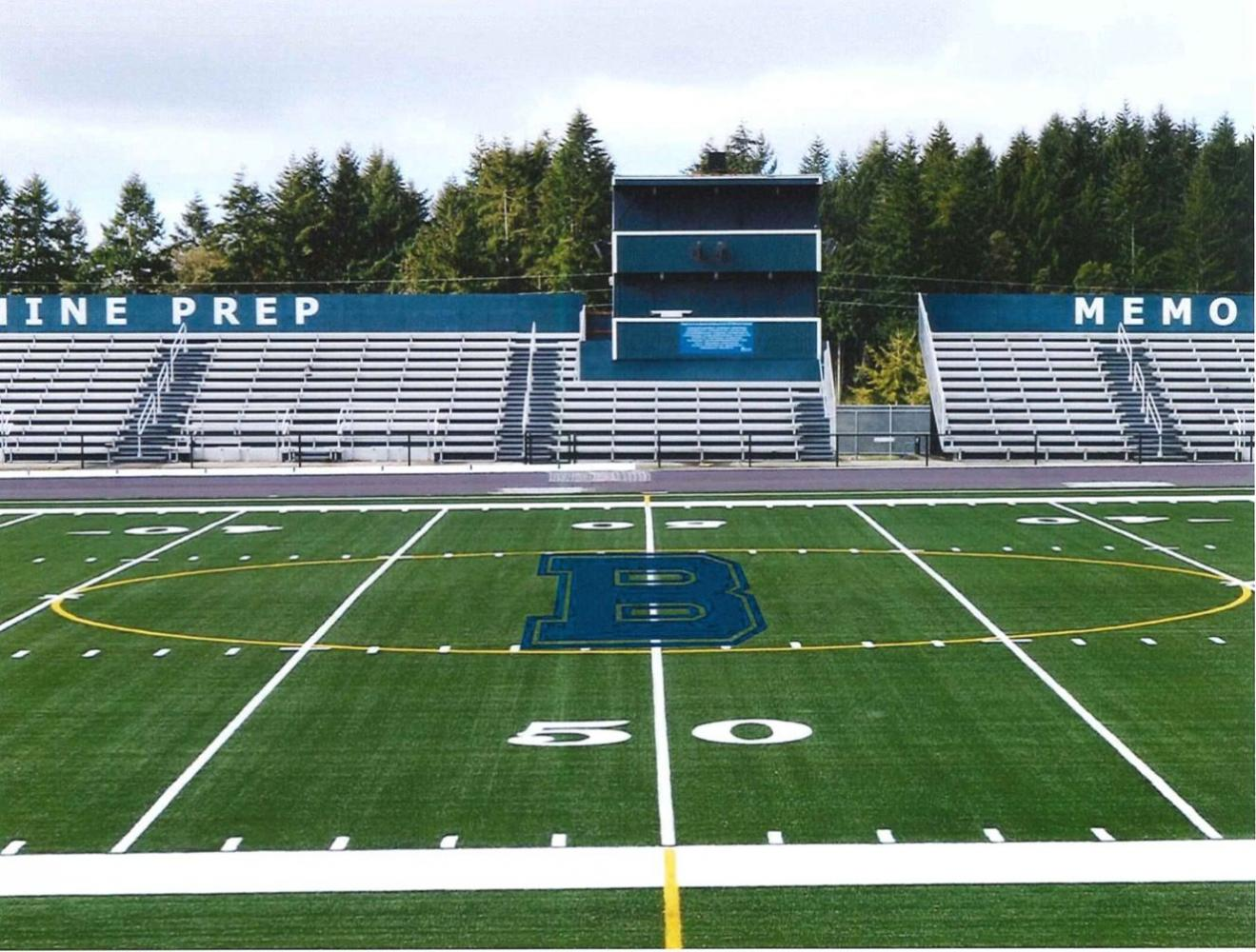 A computer-generated image of the highly anticipated new turf field. Photo courtesy of bellarmineprep.org