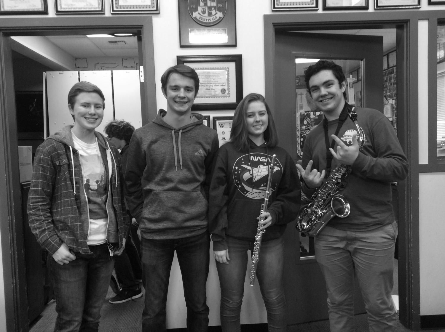 (Left to right) Claudia Modarelli, Max Gross-Shader, Lauren Fessenden and Mack Gibbens, four of the six AP music theory students. Photo by Adrienne Pascual