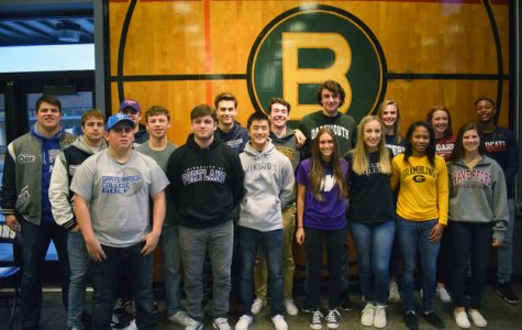 Bellarmine presents its 17 student athletes who will play in college. Photo by Craig Coovert
