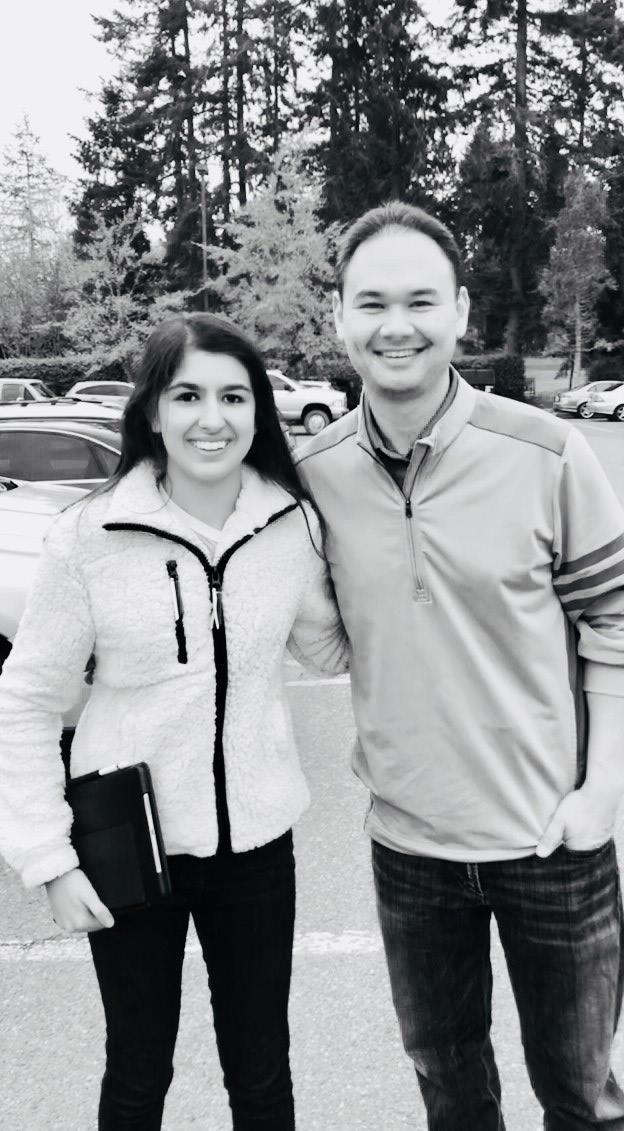 Amina Khan and Aaron Levine pose outside of Canterwood Golf and Country Club. Photo by Rubina Khan