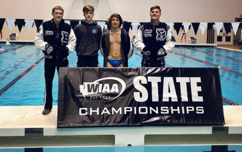 Although they compete for other schools, these four swimmers represent Bellarmine well. From left: Liam Casey-Minnick B'19, Billy Oates B'22, Valen Holmes B'21, Connor Hodges B'19. Photo courtesy of Kelli Hodges