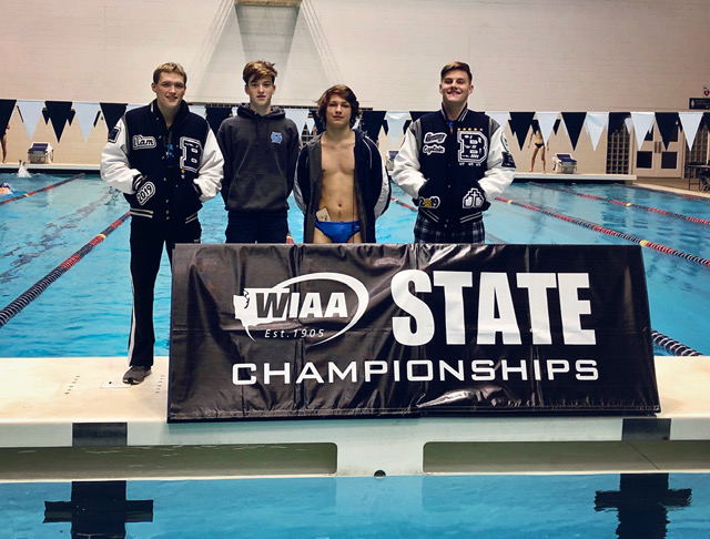 Although+they+compete+for+other+schools%2C+these+four+swimmers+represent+Bellarmine+well.+From+left%3A+Liam+Casey-Minnick+B%2719%2C+Billy+Oates+B%2722%2C+Valen+Holmes+B%2721%2C+Connor+Hodges+B%2719.+Photo+courtesy+of+Kelli+Hodges