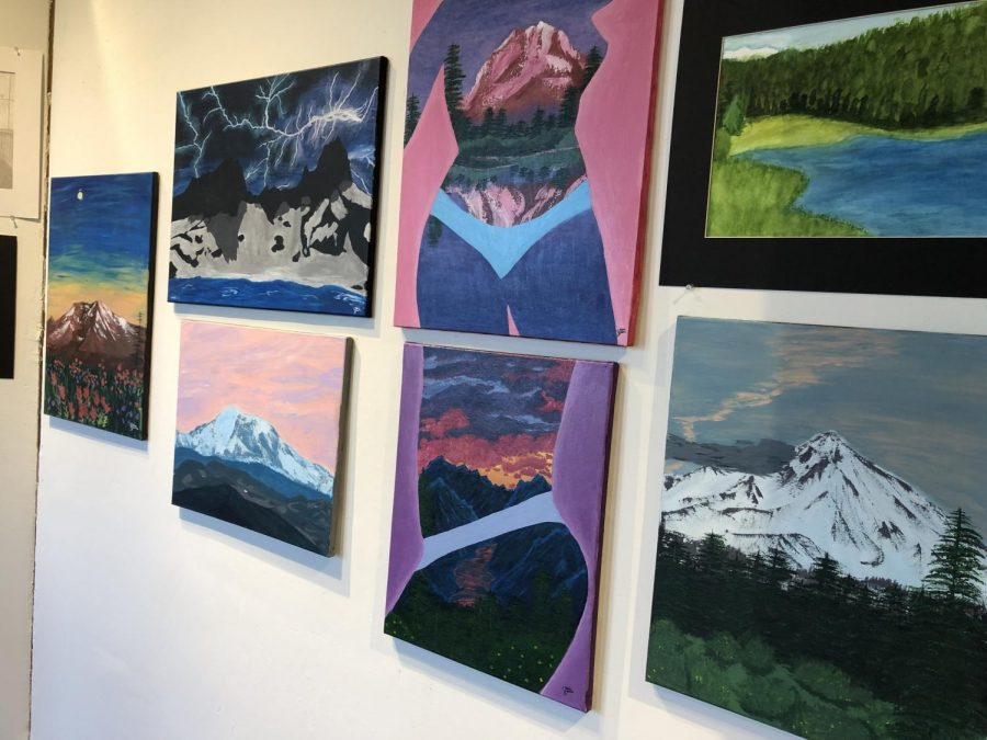 The art show displays student work. Photo by Jack Kalmbach