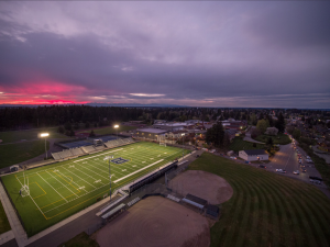Memorial Field, the home of many sports teams, is lit up to honor the Class of 2020 on Friday, April 17.