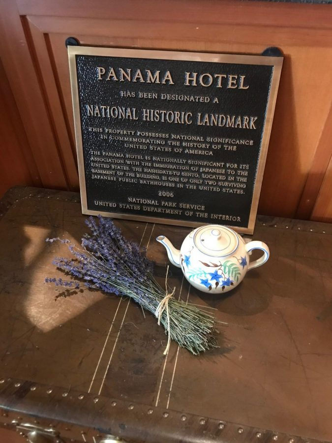 The Panama Hotel in Seattle prominently displays its historic landmark designation.