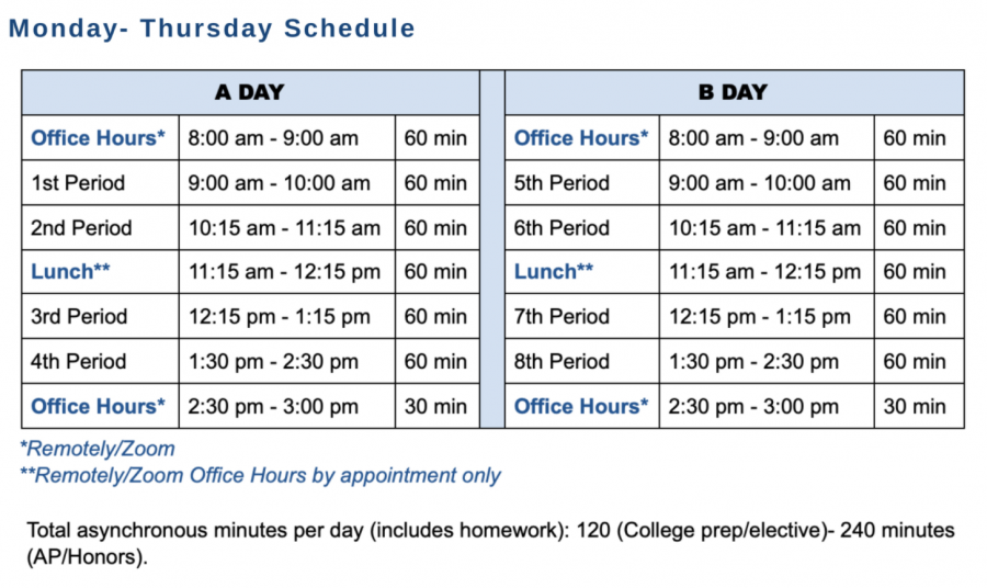 The new schedule is featured on the school website.
