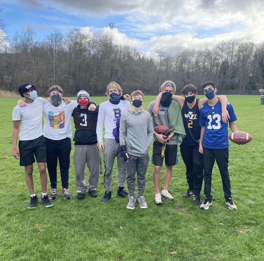 When they aren't competing at Fantasy Football, these seniors are competing in a friendly game in masks and in person.