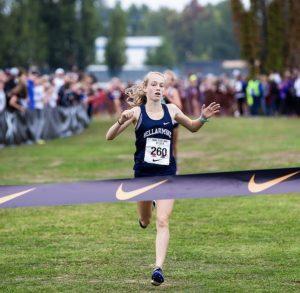 Ella Borsheim sprinting to the finish.