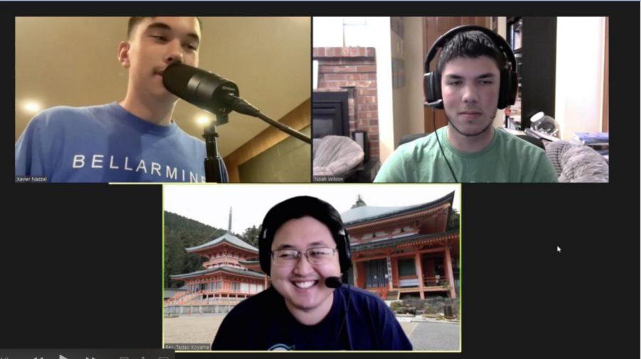 Podcasters interview Reverend Tadao Koyama of the Tacoma Buddhist Temple. Photo courtesy of Noah Wilson and Xavier Nazzal