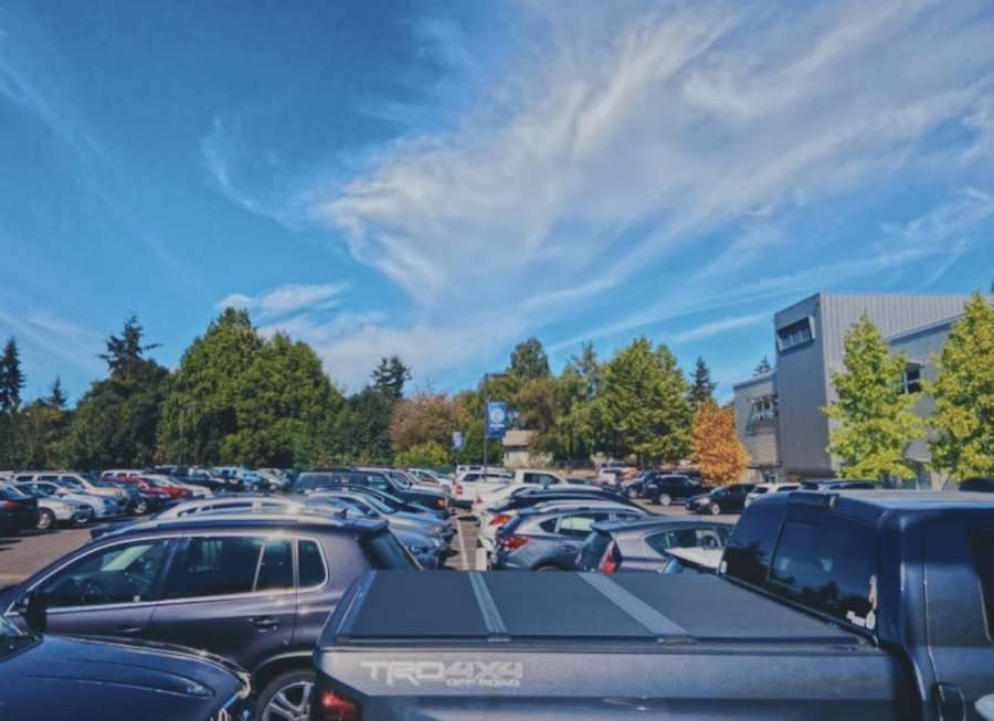The parking lot during the Bellarmine school day