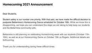 October homecoming dance delayed